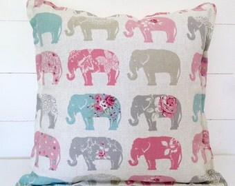 "Cushion Cover, Elephants Cushion Cover 16"" 18"" 20"", Pillow Cover, Pillow Case, Nursery, Kids Room, Scatter Cushion, Scatter Pillow, Elephant"