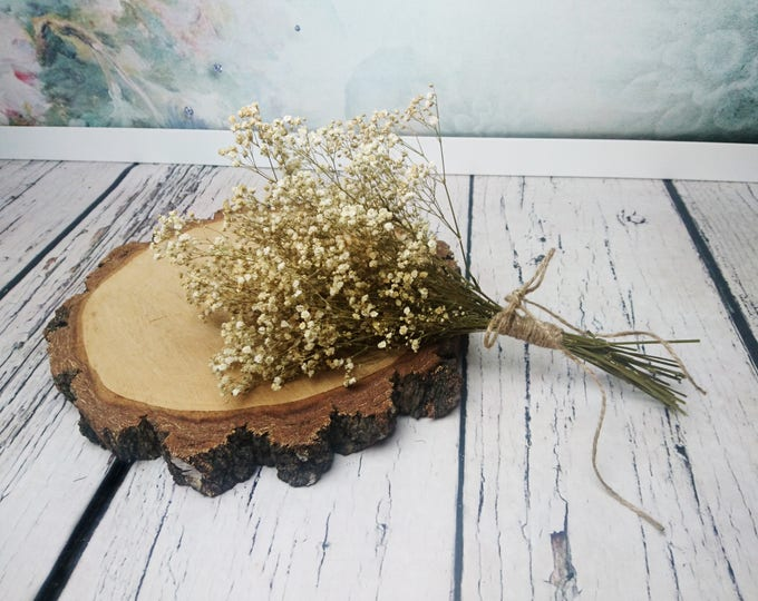 Small natural bridesmaid wedding bouquet gypsophila baby's breath preserved stabilized flowers simple rustic wedding