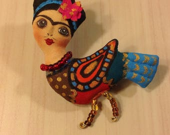 Frida brooch Frida Kahlo brooch mexican art brooch bird wearable art Icon Brooch Frida kahlo pin casual jewelry hand painted brooch