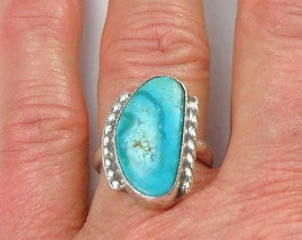 Vintage Native American Turquoise Sterling Silver Ring - Navajo Turquoise Rings,  Vintage Turquoise Ring,  Old Pawn Rings
