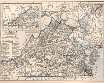 Vintage Map Etsy - Us map 1930