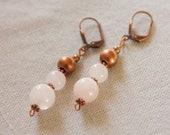 Earrings rose quartz, pea...