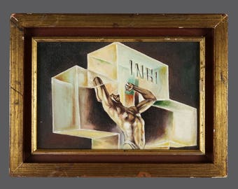 INRI Jesus Christ Crucifixion Acrylic Painting Vintage Art