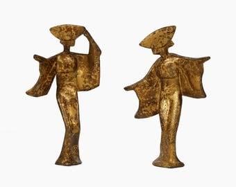 Bronze Geisha Figurine Set Metal Figurines Sculpture Japanese Vintage Art Asian Chinese