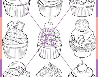 Download Cute Cupcake Coloring Page