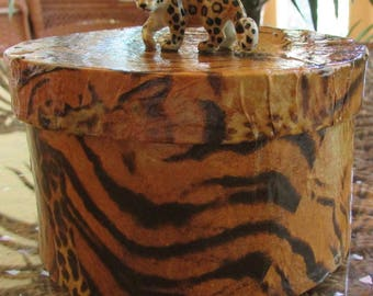 FREE  2-DAY SHIPPING Jungle Cats Print Decoupage Box, Round w/ Lid, Gloss Varnished, and Porcelain Spotted Leopard Secured to Center of Lid