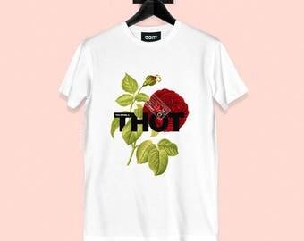 Thot T-shirt - Vintage Rose Illustration - Unisex Streetwear - S, M, L, XL, XXL | Made to Order |