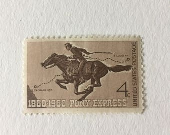 10 Pony Express 4c US postage stamps unused - Vintage 1960 - rustic horse equestrian sepia neutral chocolate