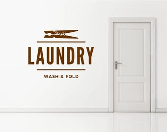 Laundry, Launderette, Dry Cleaning  Shop, Business Decal Sign Sticker for Windows, Walls and more. (#174)