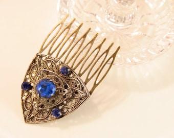 Sapphire Comb Bronze Hair Comb Antique Hair Comb Cobalt Blue Head Piece Blue Glass Headpiece 1920s Hair Comb Navy Blue Head Comb Bridal Comb