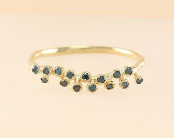 Blue Diamond Ring, 14K Gold Thin Diamond Wedding Band, Diamond Eternity Band, Diamond Band, Engagement Ring, Stackable Ring