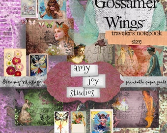 Gossamer Wings Fairy Journal Printable Midori Standard  Digital Journal Kits DIY  Travelers Notebook Inserts  Junk Journal Kit Ephemera pack