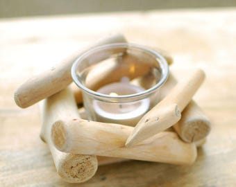 Unique gift natural forest wood driftwood stick glass tea light candle holder