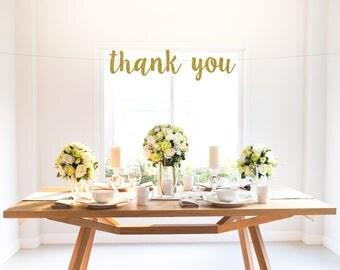 THANK YOU glitter banner, wedding, engagement, bridal shower, birthday, party decoration, photo prop