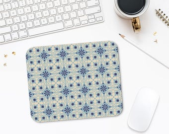 Barcelona Tiles Mousepad Art, Mosaic Mouse Pad, Office Desk Gifts, Office Mouse Pad, Pattern Mouse Pad, Laptop Accessories
