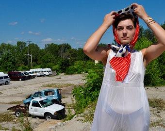 1950's Silk Polka Dot scarf