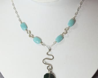Hand Formed & hammered Silver Necklace with Moss Agate Pendant and Amazonite