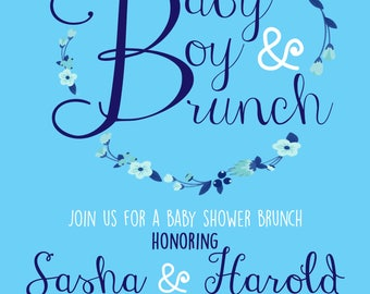 Baby Boy Brunch Baby Shower Invitation