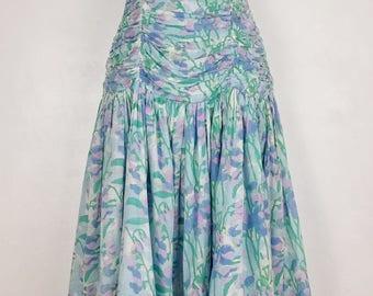Vintage Anokhi Strapless Bustier Pastel Cotton Boho Ethnic Prom Dress 70s 80s XS 6 8