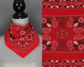 Vintage Red Fast Color Bandana - 50s 60s RN 15234 Fast Color Bandana - 1950s 1960s Polkadot Geometric Fast Color Bandana