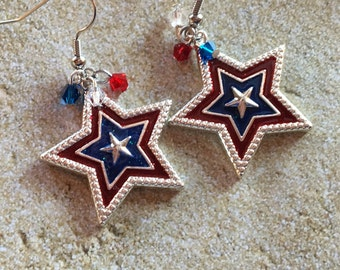 4th of July Jewelry, Independence Day Jewelry, Star Earrings, 4th of july Earrings, Gifts, Gift Ideas, For Her, Jewelry, Red, White and Blue