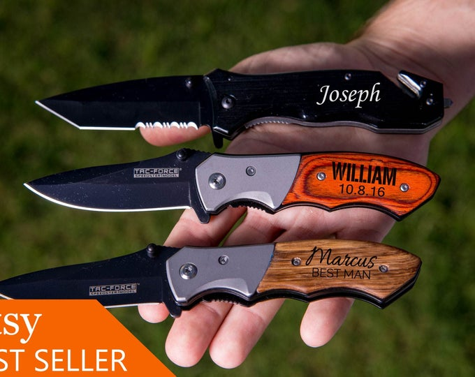Personalized Pocket Knife, Hunting Knife, Gift for Men, Fathers Day, Custom Camping Knife, Groomsmen Knife, Engraved Knifes, Blade K01