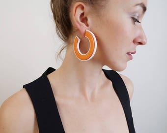 Oversized Orange and White plastic Retro Hoops/Hoop Earrings