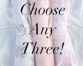 Choose Any Three! 47x47 100% Cotton Muslin/Double Gauze Swaddling Blanket