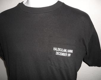 Vintage Original 1990s Halekulani Hawaii December 1991 GLADIATORS Black Soft Jerzees T Shirt L
