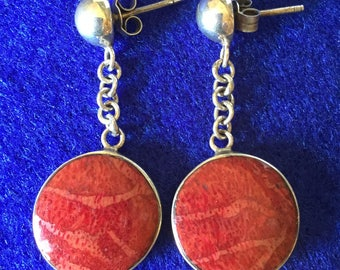 Vintage 1960s Scandinavian Red Sponge Coral & 925 Silver Round Earrings