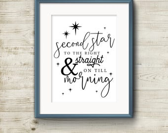 Second Star to the Right & Straight on till Morning Home Decor Printable, DIY, Print At Home, 8x10