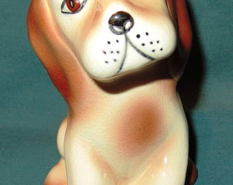 Vintage Seated Puppy Spaniel Hound Dog Pottery Cream and Brown Spots Spotted Ceramic Figurine Springer Hand Painted Signed by Artist K. Gift