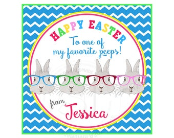 "Custom Easter Bunnies-Favorite Peep Printable 2.5"" Tags-Happy Easter D.I.Y Tags- Personalized Stickers (You Print) 2.5"" tags-Digital file"