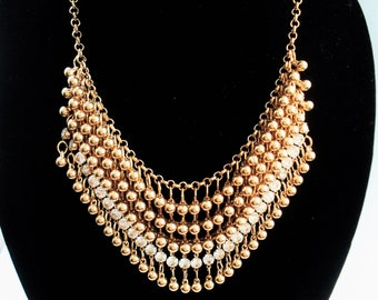 Gold Necklace Statement Jewelry Bib Necklace Bohemian Jewelry Chunky Necklace Gold Jewelry Beaded Necklace Gift For Women Wedding Necklace