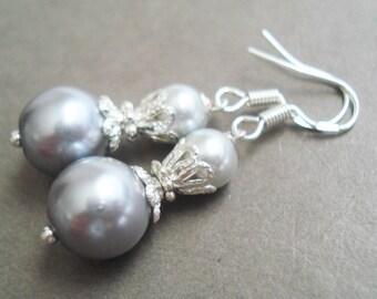 Sterling Silver Gray Earrings Pearl Jewelry Vintage Style Pearl Earrings Bridesmaid Gift Silver Earrings Wedding Jewelry Dangle Earrings