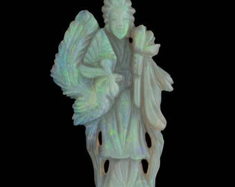 Old Chinese finely carved Australian opal Quan Yin PDGM144(e)
