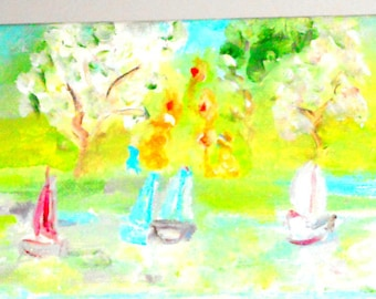 Mini Landscape Painting Park-like setting with people, sailboats