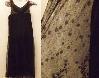 20's Antique Black Satin Lace Flapper Style Dress Size 2