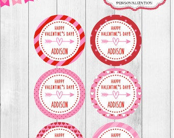 Printable Valentines, Valentine tags, Valentine Stickers, Personalized Valentine tags, Girls Valentines, Kids Valentines, custom valentine