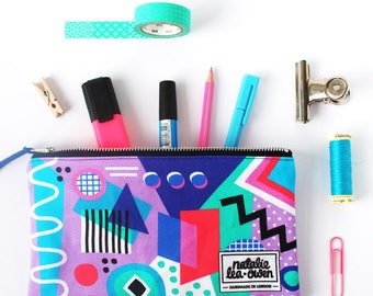 Zipper Pouch with Geometric Abstract Pattern, Makeup Bag, Gifts for Women, Fun, Colourful, Pencil Case, SALE