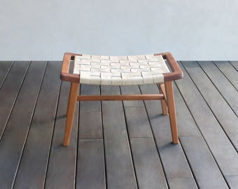 Mid-Century Modern Ottoman, leather ottoman, footrest, footstool, Tropical hardwood, Footrest, mid century Footstool, Lounge Chair