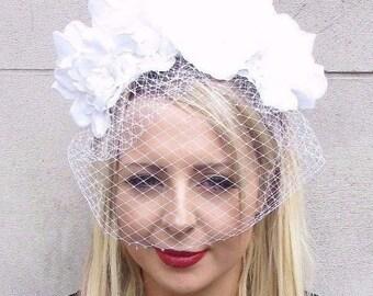 Large White Rose Flower Veil Headband Sugar Skull Goth Halloween Fascinator 3638