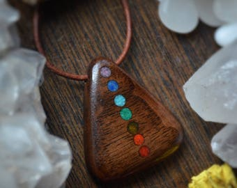 Rainbow Crystal Inlaid Upcycled Montana Black Walnut Necklace Ooak, Primal Montana, Mermaid, Boho, Festival, Gift for Her, Gift for Him