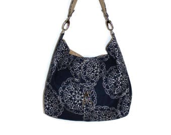 Hobo Bag Purse, Slouchy Purse, Fabric Hobo Bag, Shoulder Bag, Vegan Purse, Navy Fabric Purse, Hobo Purse, Gift for Her