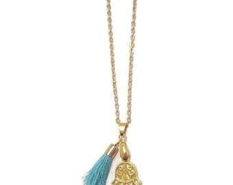 Gold Hamsa Necklace - Gold Hamsa Pendant - Hamsa Pendant Gold - Hamsa Pendant Necklace - Boho Pendant Necklace - Gold Boho Pendant Necklace