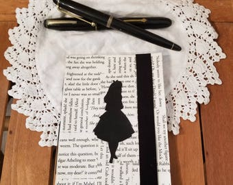 Alice in Wonderland Journal, Book Page Journal, Blank Page Journal, Alice Silhouette, Lewis Carroll, Book Journal, MarjorieMae