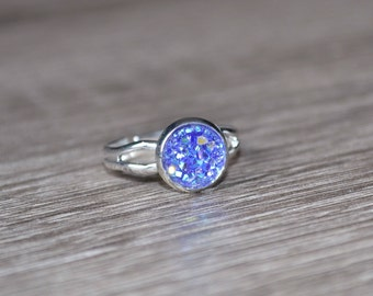 Purple Druzy Ring. Silver adjustable ring. Faux druzy, dainty ring, bridesmaid gift, gift for her, gift under 10, Mothers Day, mauve
