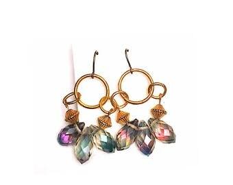 Rainbow Rain crystals and Gold Earrings