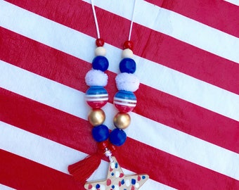 Confetti Star Red White and Blue Kids Necklace