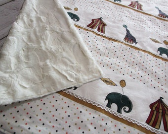 Baby Girl Minky Blanket Reversible~ Big Tent CIRCUS Elephant Seal~ White Red Beige Whole Cloth Quilt